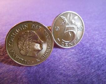 Netherlands Juliana 5 Cent Coin Cufflinks
