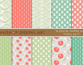 Digital Paper 'Follow me II' Green, Red, White Downloadable Patterned Papers for Cards, Invites, Paper Crafts...