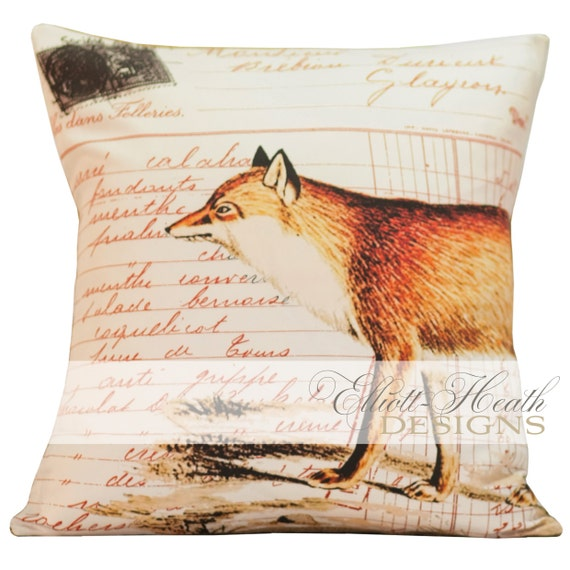 SHIPS TODAY Vintage French Pillow Fox Antique Document Burlap Cotton Throw Pillow