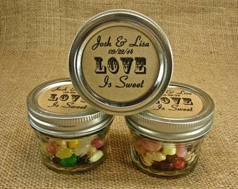 mason jar wedding favors personalized 20 four ounce quilted mason jars love is