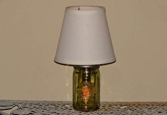 handmade mason jar lamp with shade green mason jar. Black Bedroom Furniture Sets. Home Design Ideas