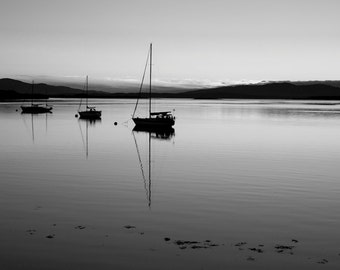 Romantic Art - Scotland Landscape Photography - Black and White Sailboats - Limited Edition Print - 8x12, 12x18, 16x24, 20x30, 24x36