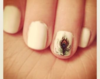 Little Peacock Feather Nail Decals