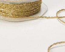 Tiny Tinsel Metallic String Ribbon, GOLD