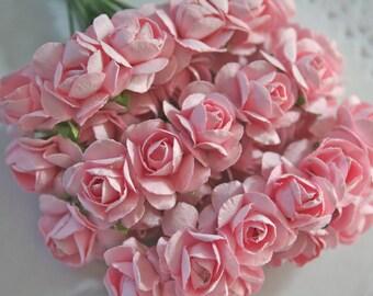 24 Handmade Millinery Paper Flowers, PASTEL Pink
