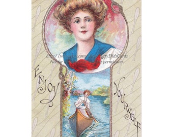 Woman Canoes Fabric Block - Sporting Scene from Vintage Postcard