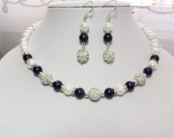 Purple Bridesmaid Jewelry set, Pearl  Jewelry Bridesmaid set , Wedding Jewelry, Bridal Party Gift