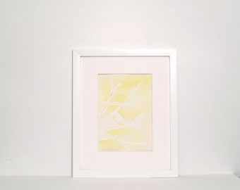 Small Abstract Painting - yellow, gold, green, grey, abstract with watercolor, original painting 5x7