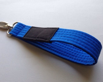 Blue Brazilian Jiu Jitsu belt wrist key chain fob
