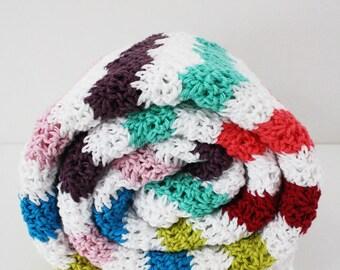 Crochet blanket, crochet baby blanket, crochet ripple stitch blanket, retro blanket, lap blanket, baby shower present, baby boy, baby girl