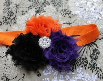 Halloween Headband Orange, Black, Dark Purple, Shabby Chic Flower Headband for Newborn - Infant - Toddler - Girl  - Photo Prop