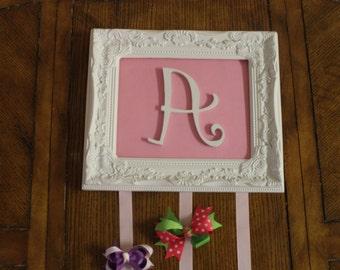 Pink Monogrammed Hair Bow Holder - Organizer for Hairbows Clips - Shabby Chic Frame Personalized Custom Letter Monogram