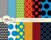 Pop Art Polka Dots in Black and White, Red, Yellow and Blue, Digital Scrapbooking Paper, Comic Book Art - Basic Dots 7