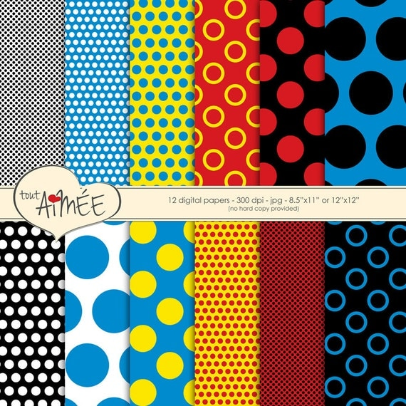 Pop Art Polka Dots In Black And White Red Yellow And