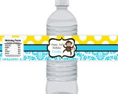 Monkey Bottle Wrap - Bright Yellow Polka Dots and Aqua Blue Damask, Cute Mod Monkey Personalized Bottle Label - a Digital Printable File