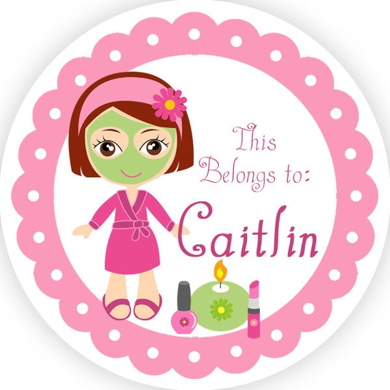 Personalized name label stickers pink lime green cute spa for Stickers salon