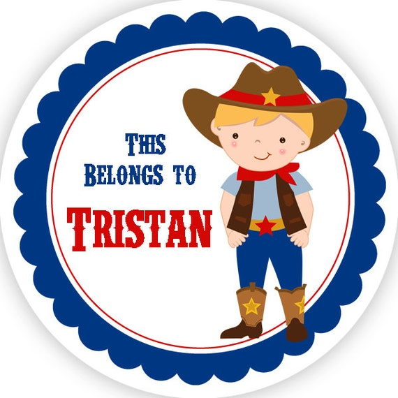 Boys Premium Name Labels: Name Tag Stickers Blue Red Western Sheriff Boy Cowboy