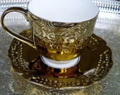 Tea cup and soucer cut out cutout / Coffee cup Gold luster / Bronze Shabby Chic