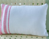 Farmhouse Cottage StyleToss pillow pink and white teatowel 12x16 lumbar/travel pillow
