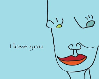 I Love You (abstract face) Card