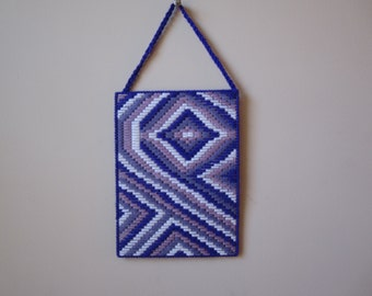 BARGELLO PURPLE SUPPORT Ribbon Wall Hanging in Plastic Needlepoint Canvas