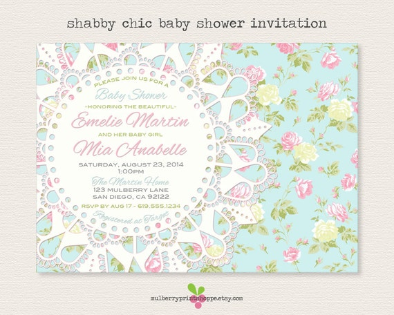 shabby chic baby shower invitation printable or printed cards