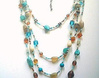 Glass Bead Bib Necklace Multistrand Art Glass & Turquoise Chips Southwestern Style