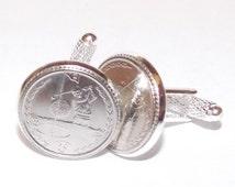 Golf cufflinks in silver plated cufflink backs - Golf ball cufflinks with real coins - Great golfing gift