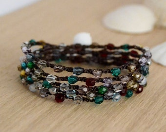 Five wrap beach chic beaded crochet bracelet, anklet, necklace. Mixed color jewelry