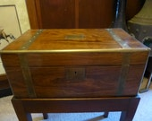 rsvd Very rare Victorian lapdesk -  side table - travelling desk and easel - Marvellous walnut and brass with secret compartments