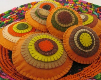 BOWL FILLERS Copper Pennies Set of Six Tucks in Fall Colors Home Cottage Cabin Décor Hostess Teacher Gift