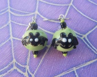 Green, Bat Earrings