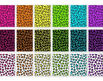 011 FLUOR LEOPARD digital paper pack for scrapbooking, albums, cards and crafts