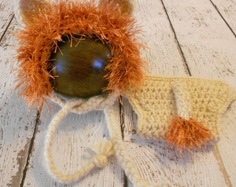 Crochet Lion Hat and Diaper Cover Set-Newborn-Photo Prop