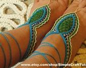 Crochet Oriental Barefoot Sandals  PDF Pattern Tutorial Beach Shoes Bohemian Sandals Crochet Foot Jewellery for Women Teen Girls