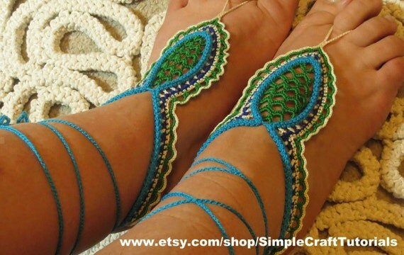 Crochet sandalias Descalzas orientales PDF por SimpleCraftTutorials