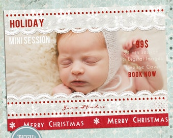 Christmas Minis, Holiday Mini Session, Mini Session Template, Christmas Flyer, Mini Session, Flyer Template - INSTANT DOWNLOAD