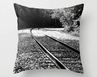 Railroad Tracks, Train Tracks Print, Toss Pillow, Photo Pillow