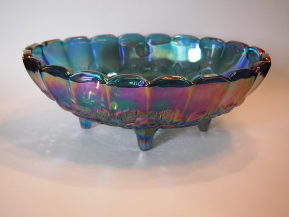 Blue carnival glass footed fruit bowl indiana