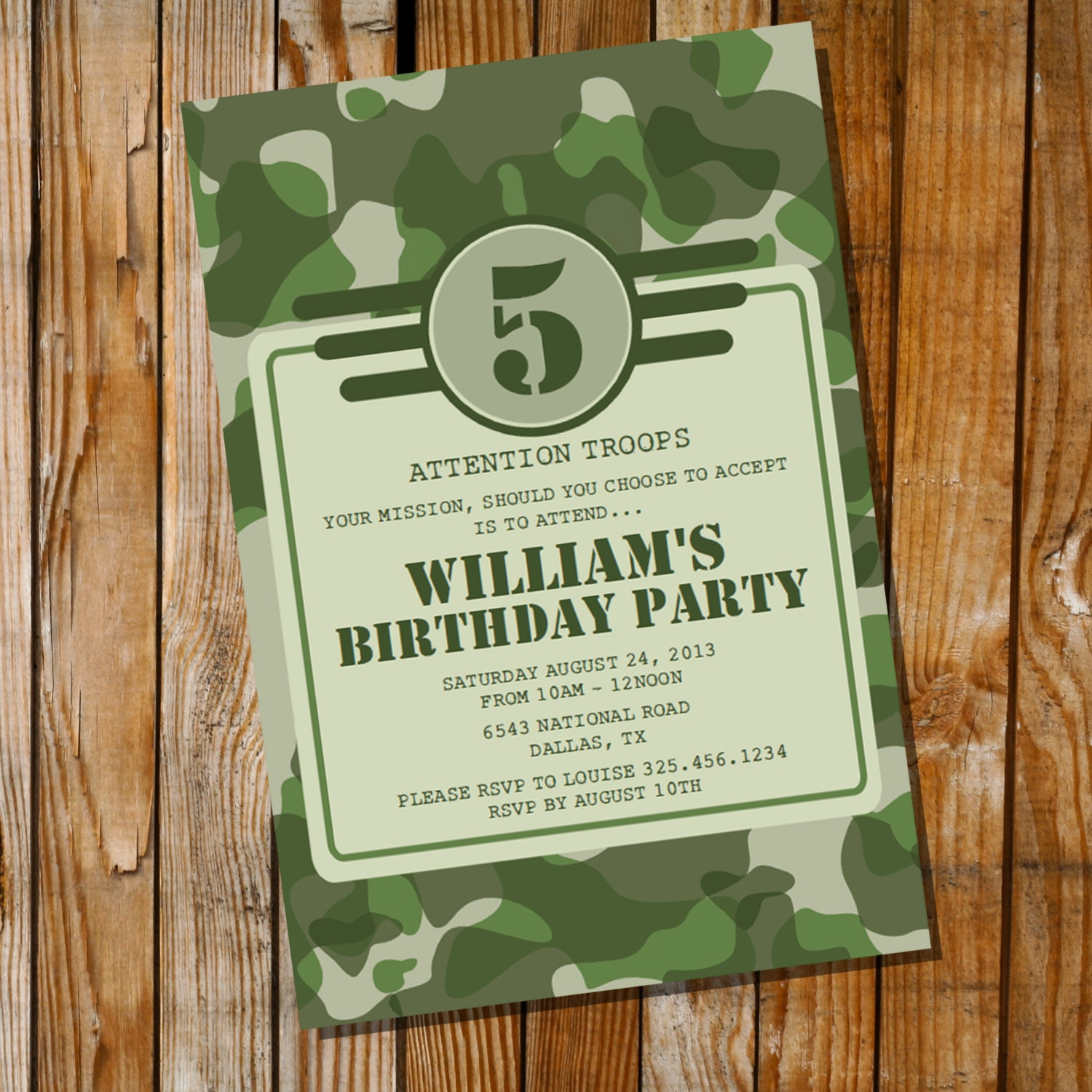Army Party Invitation Army Camo Instantly Downloadable and