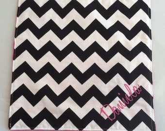 Personalized Security Blanket...Chevron with Minky...You choose colors...Quick Ship!...Shower Chic