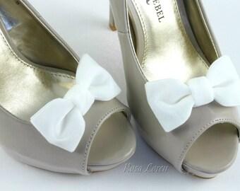 White Velvet Shoe Clip, White Velvet Bow Shoe Clips, Retro Pin Up Girl Clip Shoes, White Wedding Accessories