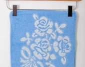 Set of 2 Vintage Wash Cloths-Floral Pattern in Baby Blue and White