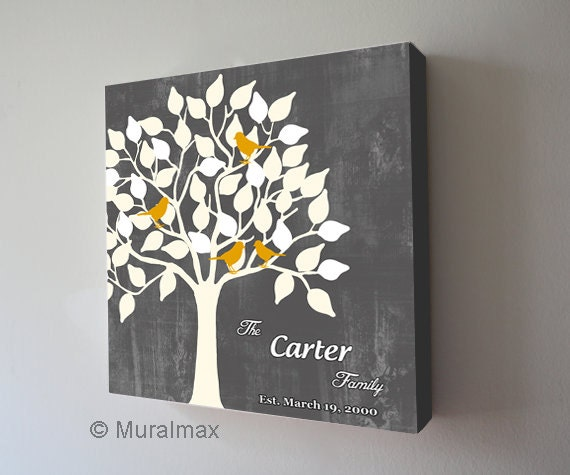 Family Tree Wedding Gift: Family Tree With Birds Personalized Family Name Sign Canvas