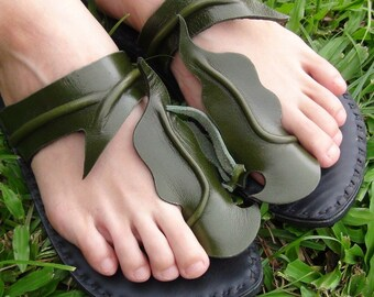 Handmade Leather Sandals Women and Men***Small Leaves design***