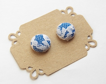 Dark Blue Lace - Button Earrings - Bridesmaid Stud Earrings - Hypoallergenic Earrings