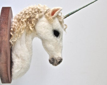 Unicorn - Felted Faux Taxidermy - Wall Mount