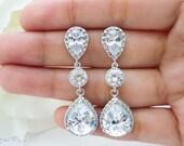 Wedding Jewelry Bridesmaid Gift Bridal Jewelry Bridesmaid Earrings Clear White LUX (L) Cubic Zirconia Teardrop Earrings Dangle Earrings