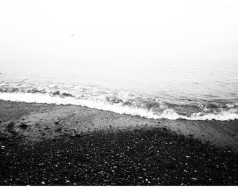 Large Black and White Ocean Shoreline Poster Photography Print