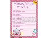Wishes for Baby, Princess Baby Shower Game, Instant Download Baby Shower Game, Princess Baby Shower Printable, Princess Theme Baby Shower